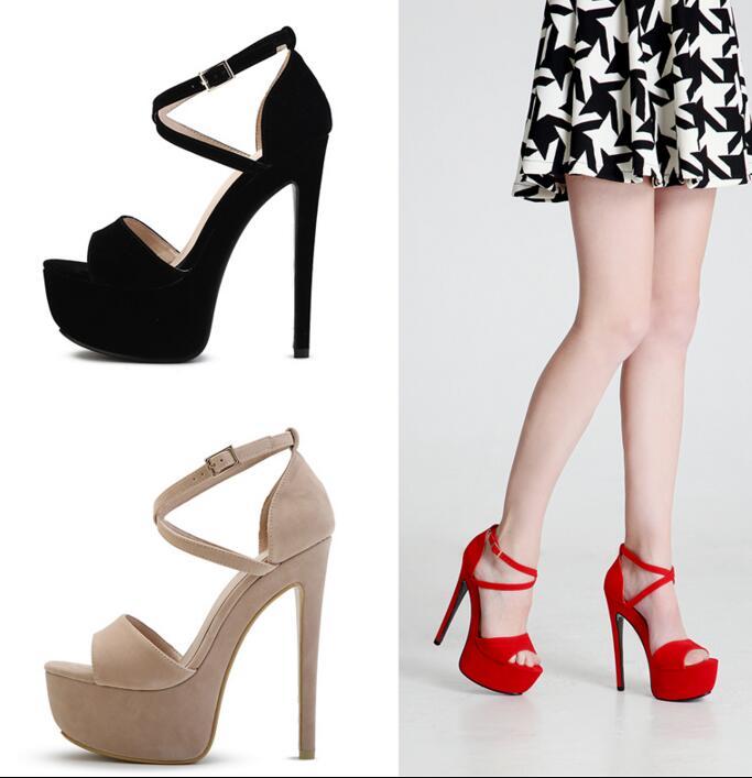 ФОТО New fashion high quality suede sandal 2017 summer sexy open toe platform sandal cross-strap gladiator sandal ultra high sandal
