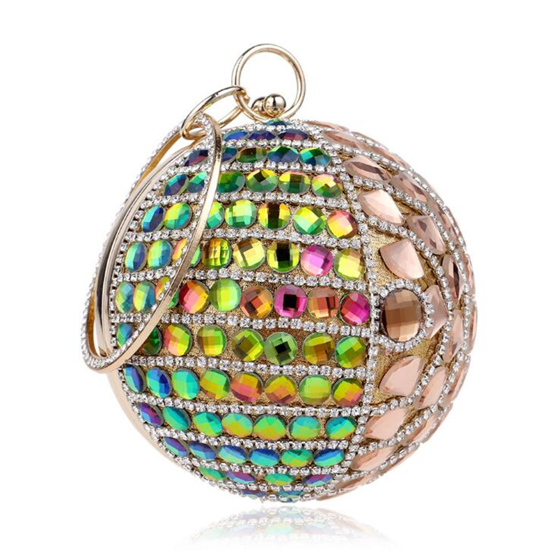 Rainbow Diamond Clutch Bag Round Shape Evening Bags Women Evening Clutch  Shoulder Bag Mini Purses Wallet Lady Handbags ZD453-in Clutches from  Luggage   Bags 892102aff4d60