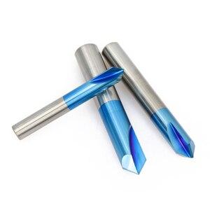 Image 4 - 1XCAN 1pc 2 12mm 90 תואר ננו כחול מצופה Chamfer קצה מילס מכונת CNC נתב קצת 2 חלילי סוף כרסום קאטר קרביד סוף מיל