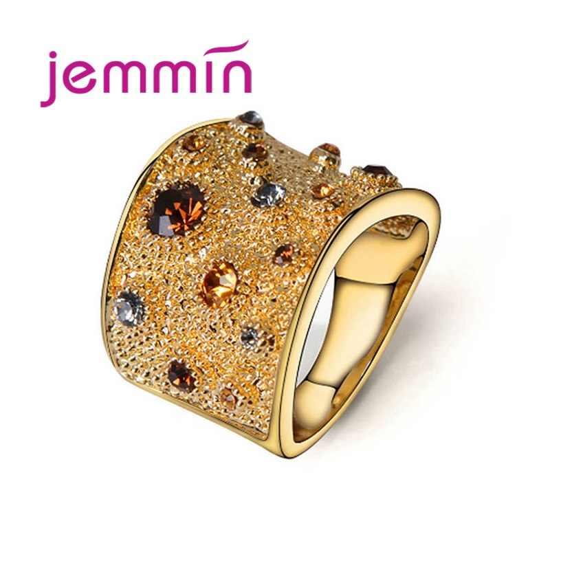925 แหวนเงินแท้ Cubic Zirconia Pave การตั้งค่า Elegant แฟชั่นเครื่องประดับ GOLD สีของขวัญที่ดีที่สุดสำหรับคนรัก