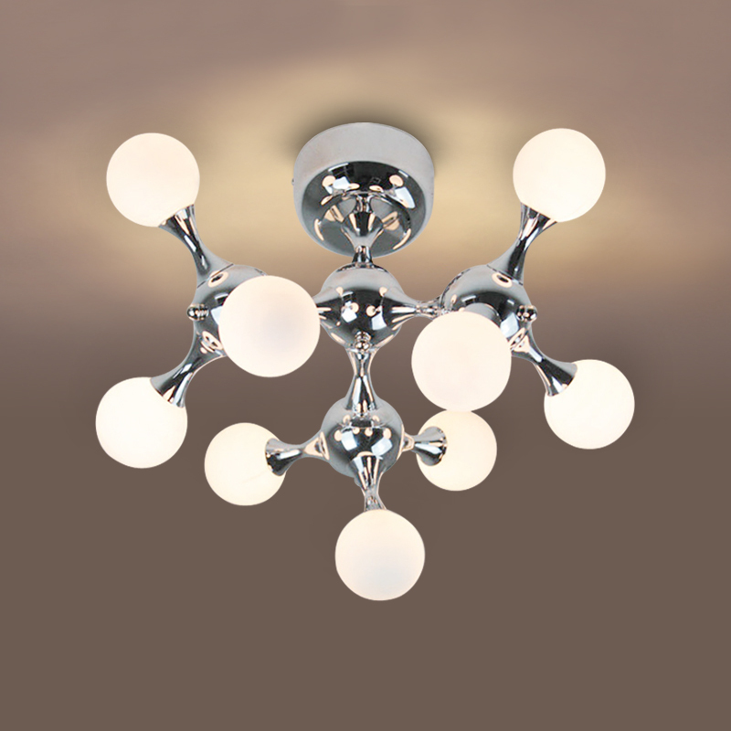 Post modern living room DNA glass ball ceiling light fixture home deco DIY brief nordic personalized globe ceiling lamps E27