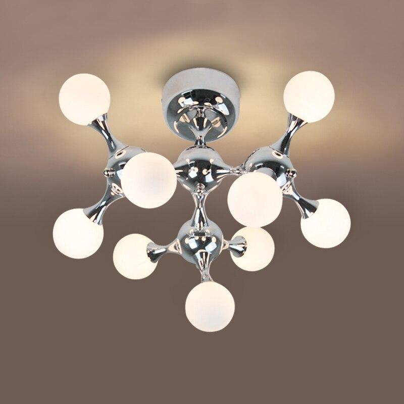 Post-moderne salon ADN boule de verre G9 ampoule plafond luminaire maison déco DIY bref nordique personnalisé globe plafond lampes