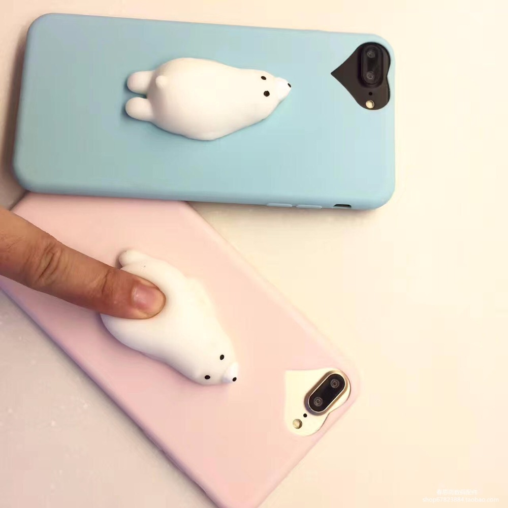 Iphone 6 squishy case - I6 I6s I7 I7p 3d Squishy Sealing Polar Bear Soft Back Squishy Case For Iphone 6s 6 Cover Cute Lovery Case Funny Bag For Iphone 7