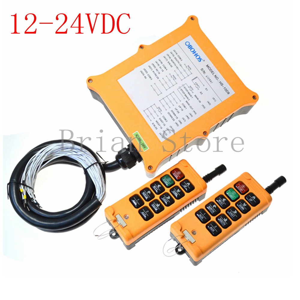 12-24VDC 10 channel 2 Speed 2 Transmitter Hoist Crane Truck Radio Remote Control System Controller Tell us the voltage you need