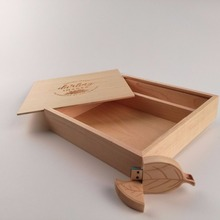 Wooden Leaf USB 3.0 memory flash stick pen drive with (170*170*35 mm) Photo Album Box (Free logo)