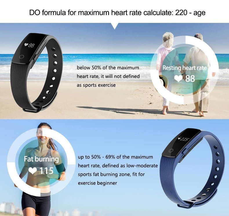 HearthRate Bluetooth Smart band Monitor best Wristband Fitness Tracker Veryfit 2.0 app pk xiaomi mi band cicret bracelet 3