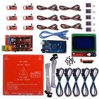 Reprap Ramps 1 4 Kit Mega 2560 Heatbed Mk2b 12864 LCD Controller DRV8825 Mechanical Endstop Cables
