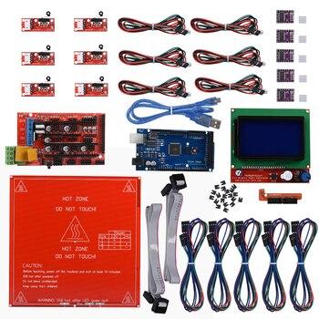 Reprap Ramps 1,4 комплект + Mega 2560 + Heatbed mk2b + 12864 ЖК-контроллер + DRV8825 + механический фиксатор + кабели 3d принтер