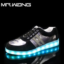 Brand Men lantern Low Shoes Letter H 7 Colors luminous shoes LED glow menUSB rechargeable  light DD-62