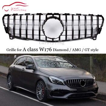 الجبهة مصبغة GTR GT شواء الماس AMG نمط لمرسيدس بنز A-فئة W176 A180 A200 A260 A45 سيارة التصميم الجبهة هود شبكة