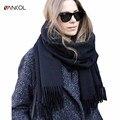 Vancol 2016 плюс размер женщин шарф люксовый бренд красный толстые теплые платок черный дамы длинный кашемировый шарф с кистями 210 см * 70 см