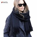 Vancol 2016 plus size women scarf luxury brand red thick warm shawl black ladies long cashmere scarf with tassels 210cm * 70cm