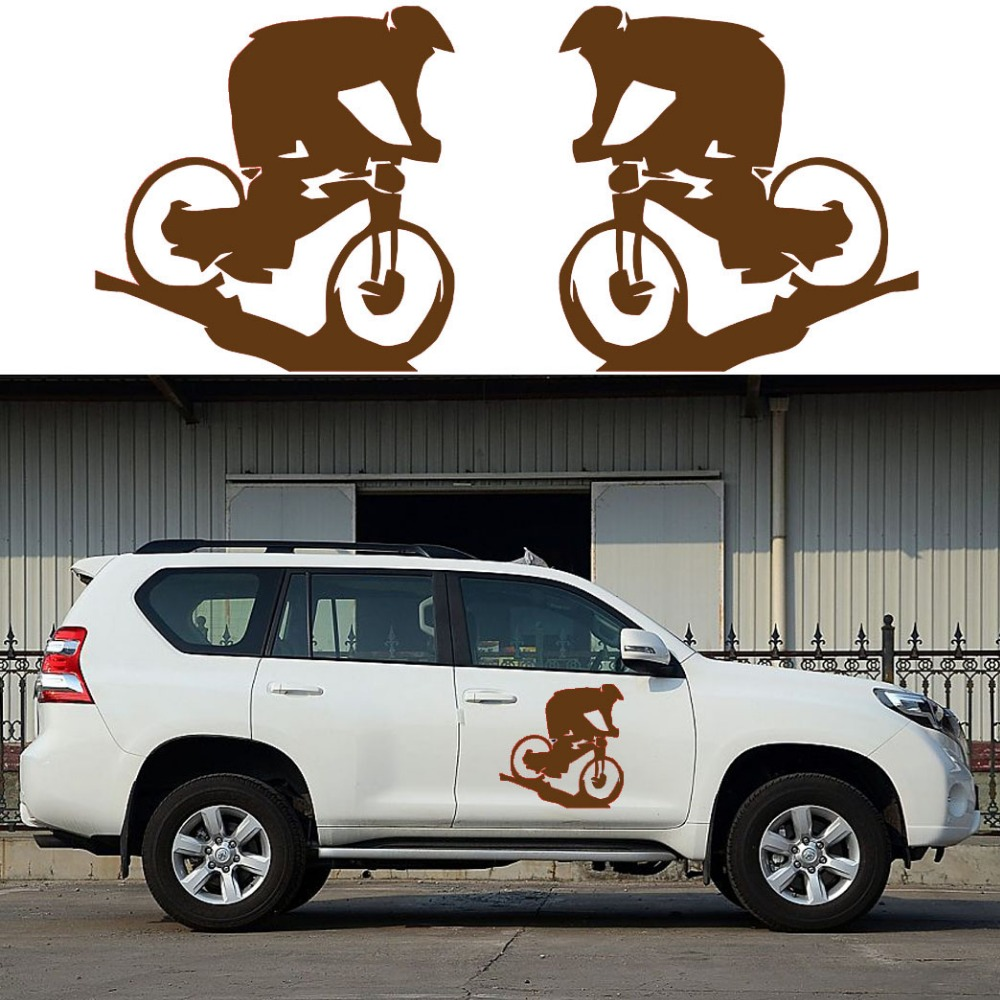 Sticker design for mountain bike - 2x Cyclist Mountain Bike Movement Leisure Sport Car Sticker For All Cars Styling Decoration Vinyl Decal