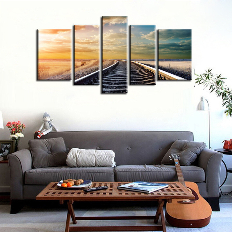 HAOCHU 5Pcs Picture Scenery Railway Canvas Painting Digital Print Poster House Decor Wall Art Backdrop DIY sitting Room Supplies