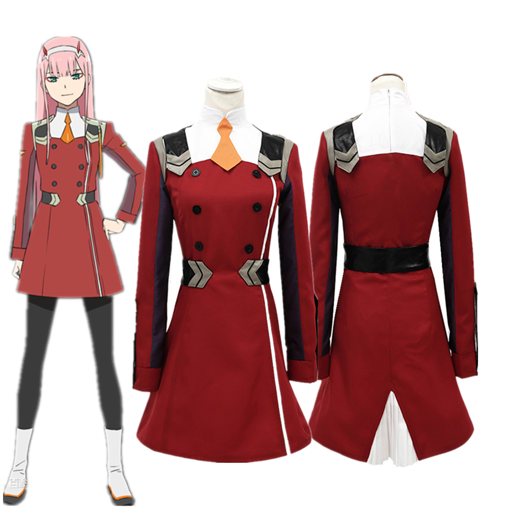 Anime Women DARLING In The FRANXX ZERO TWO Outfit Dress Cosplay Costume Full Set