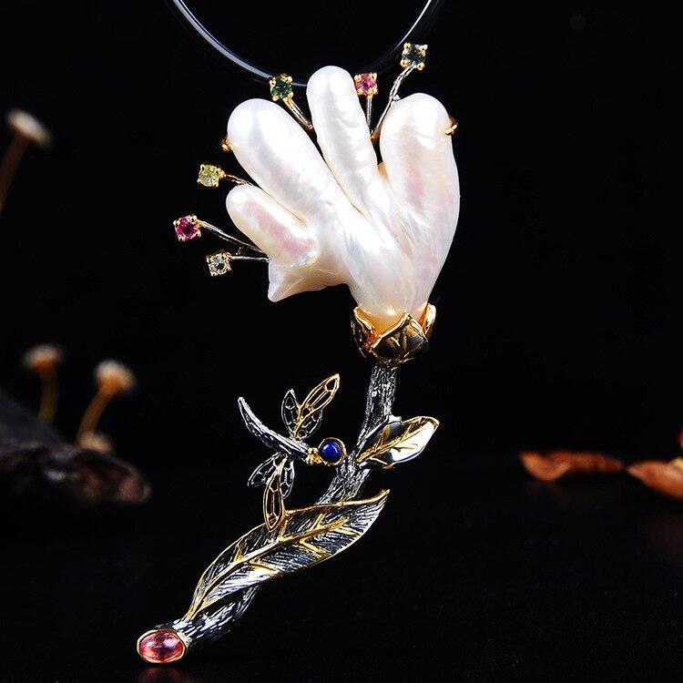 Bijoux en argent thaïlandais rétro grande perle Baroque d'eau douce naturelle S925 pendentif en argent Sterling et broche bijoux à double usage