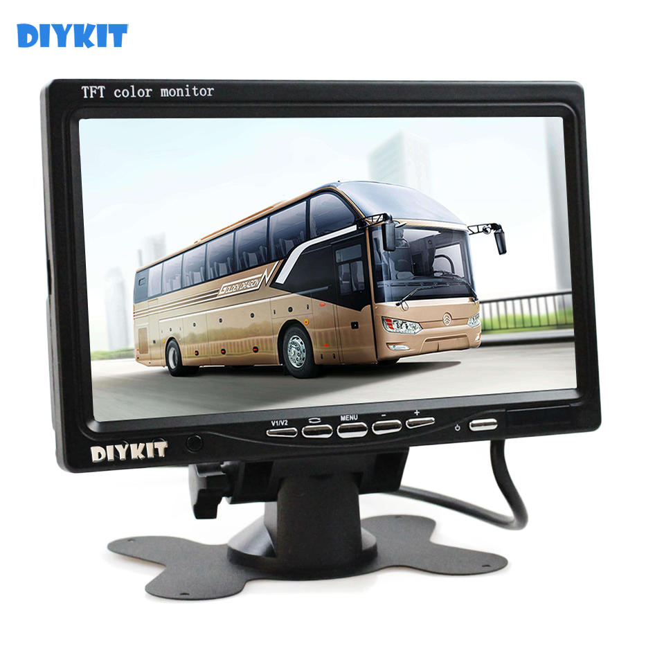 DIYKIT DC12V-24V 7 inches TFT LCD Display Rear View Car Monitor With 2 Video Input For Rear View Camera Surveillance Cameras DVD