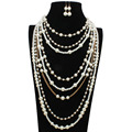 chain necklaces multilayer plastic pearl beads necklace new fashion statement women trend bohemian jewelry 6470