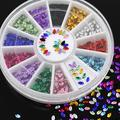 Multicolor Oval 3D Glitters Studs Nail Art Tips Stickers Wheel Polish Manicure Tips Decals 5I36