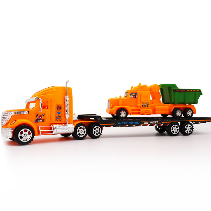 Scale Truck Toy Tractors Model Platform Truck Tractors Alloy Trailer Kids Auto Transporter Toys for Boys Kid Child Birthday Gift