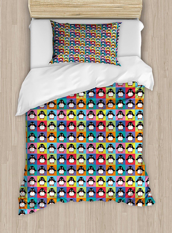 Пингвин Набор пододеяльников для пуховых одеял набор радуга Цветной клетчатый квадраты шаблон с арктических животных мультипликационный