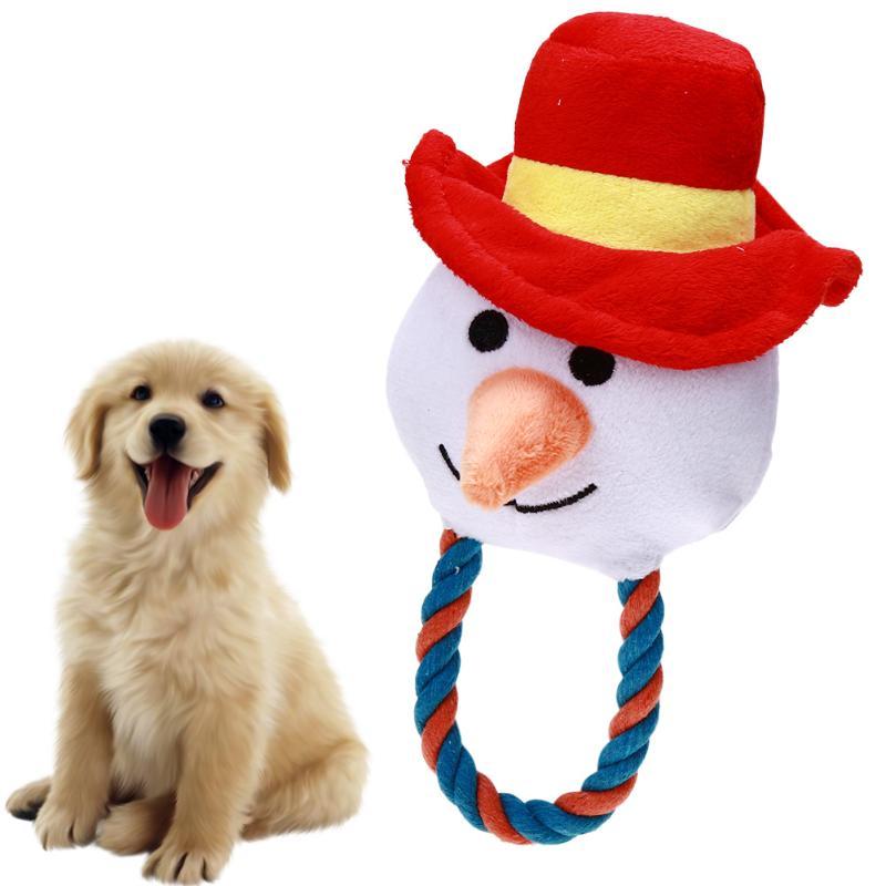 Рождество для собак Снеговик Форма любимая игрушка Ткань Игрушки для собак кошка щенок Хлопок Веревка Рождество Снеговик Форма жевать звук...