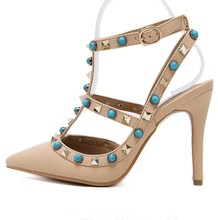 black white apricot womens gladiator sandals 2016 Luxury Blue Beading Rivets Turquoise Gladiator  Ankle Strap Pump Wedding Shoes