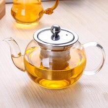 Стекло чай горшок с нержавеющая сталь фильтр термостойкие кофе комплект пуэр чайник цветочный чайник 600 мл
