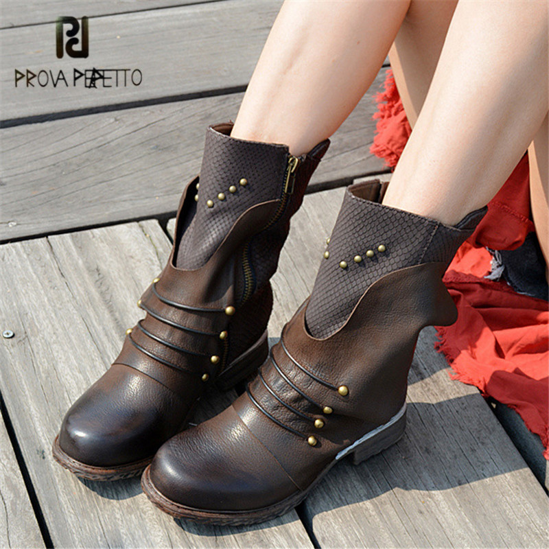 Aliexpress.com   Buy Prova Perfetto Genuine Leather Snow Boots Women High  Boot Strap Rivets Studded Female Autumn Winter Platform Rubber Boots from  Reliable ... 4d66a2209c2a
