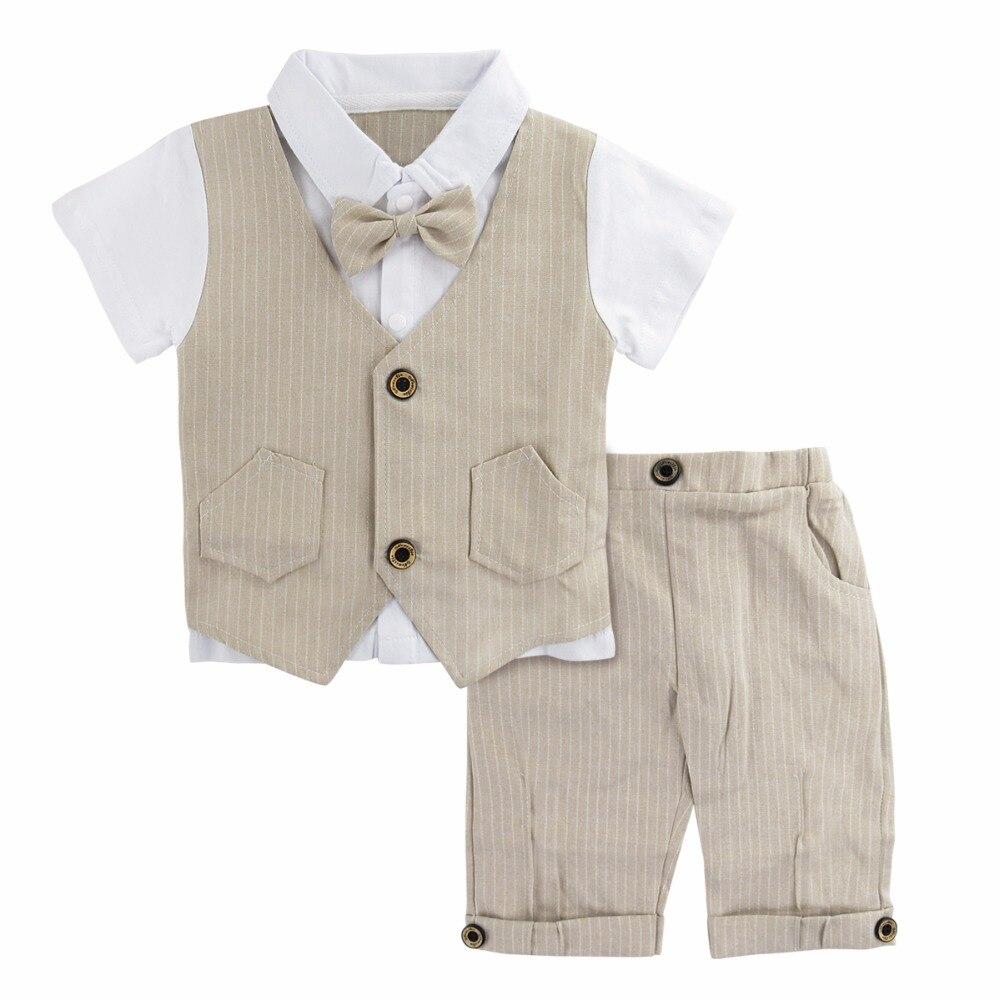 08a95394fb08f Bébé Garçons Gentleman Costume Ensemble Infantile Vêtements De Mariage Nouveau  Né D été Kaki Smoking