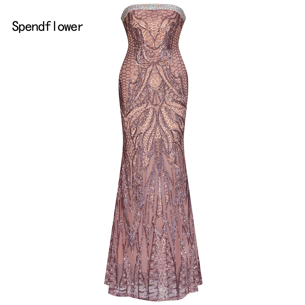 Spendflower Women's Clothing Angel Strapless Lace up Backless Beaded Sequins Long   Evening     Dresses   G-096PK