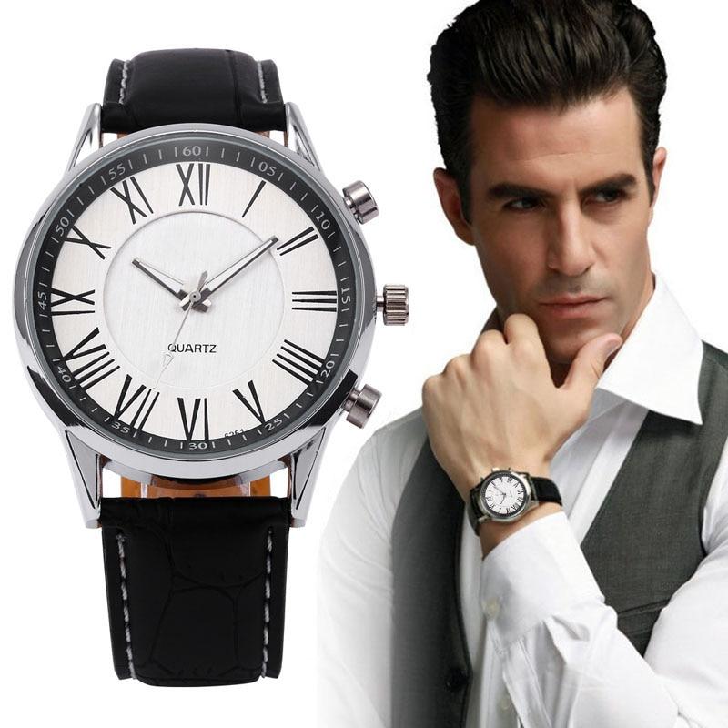 Мужчины Бизнес Кварцевые Часы 2016 Стильная мужская Pu Кожаные Военные Часы Спортивные Мужские Случайные Аналоговые Наручные Часы Relogio Masculino