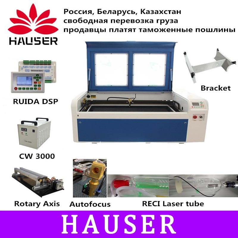 RECI 100 W Co2 Macchina Per Incisione Laser USB Messa A Fuoco Automatica Macchina di Taglio Laser con il Sistema DSP Incisione Macchina di Raffreddamento 1000x600 millimetri