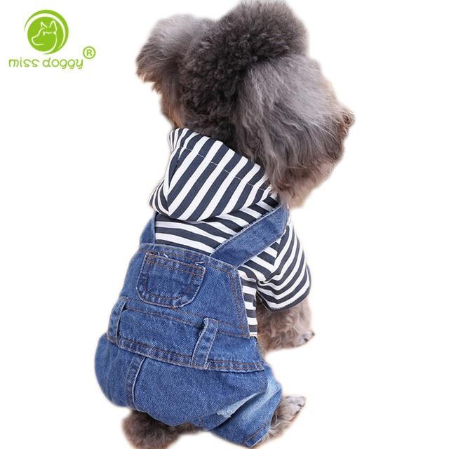 Nowo projekt klasyczny, w kratę, dla zwierząt domowych kombinezon jesień ciepłe ubrania zimowe dla małych psów wygodne na co dzień Denim Costume20