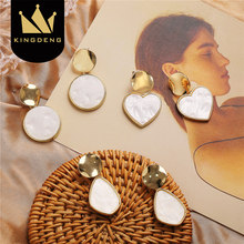 Kingdeng Stud Earring Drop Earrings for Women Fashion Jewelry Punk Heart Acrylic Tassel Korean Gothic Pearl Gold Vintage Party(China)