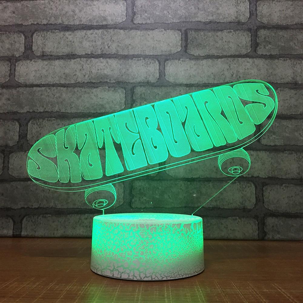 Kinder Touch-taste Led-visuelle 3d Skateboard Nacht Licht Mode Usb Acryl Schreibtisch Lampe Baby Schlafzimmer Home Decor Beleuchtung Geschenke Um Der Bequemlichkeit Des Volkes Zu Entsprechen