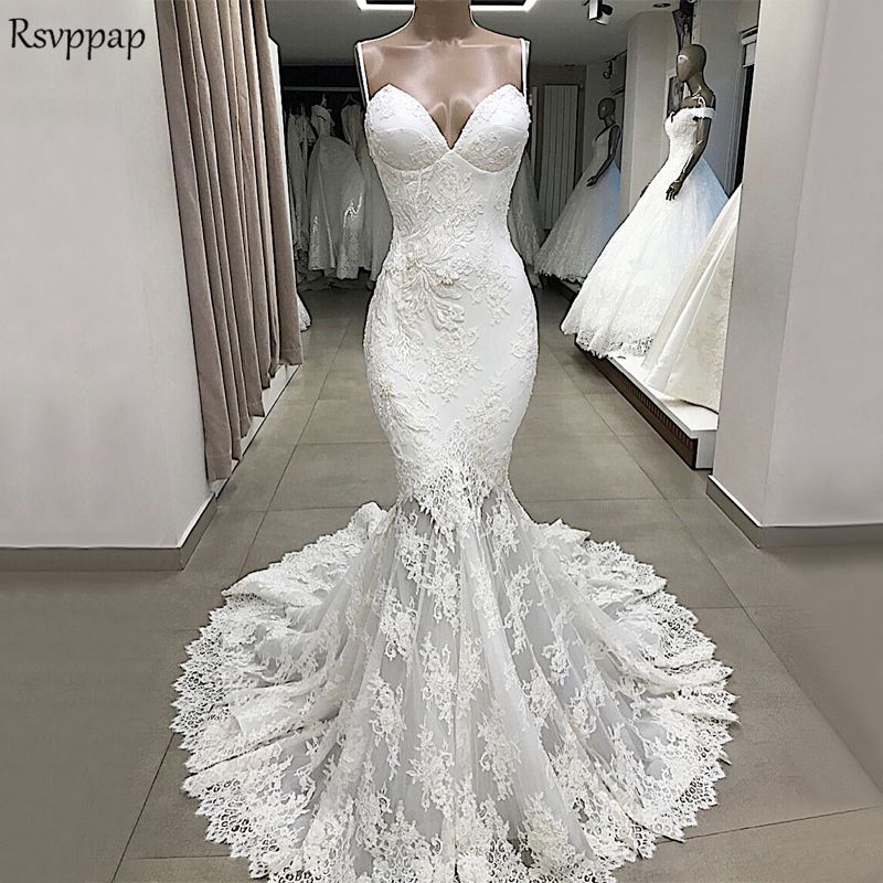 39b1ed73f91 Vintage Beach Wedding Dress 2019 Sexy Mermaid Spaghetti Strap Lace Off  White Elegant Trumpet Bridal Wedding Gowns