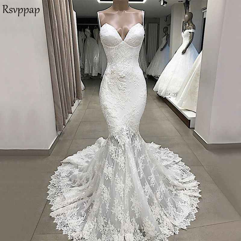 Vintage Beach Wedding Dress 2020 Sexy Mermaid Spaghetti Strap Lace
