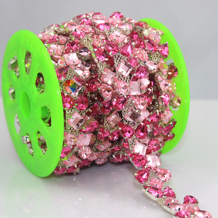 1yard 20mm Fashion Rose Pink Acrylic Crystal Rhinestone Chain Pattern  Silver Tone for Costume Wedding Shoes b486b6159e97