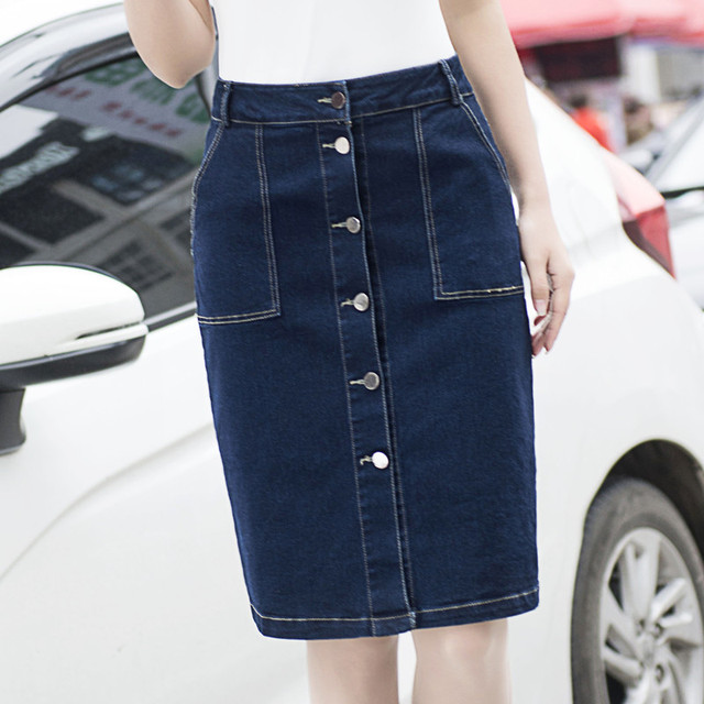 New High Street Pocket Button Denim Skirts Women Slim Jeans Skirt ...