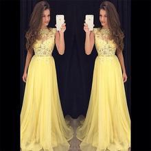 Helle Yellow A-Line Vestidos De Fiesta Scoop Cap Sleebe Bodenlangen Chiffon Abend Party Kleid Appliqued Spitze Aktivität Kleid