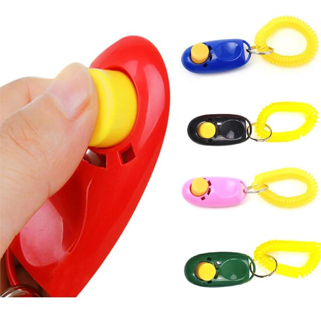 2017 New Universal Animal Pet dog Training Clicker Obedience Aid + Wrist Strap Light Weight