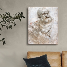 A Sketch of Old Man Oil Painting By Da Vinci Canvas Printings Art Home Decor Wall Picture for Living Room Church