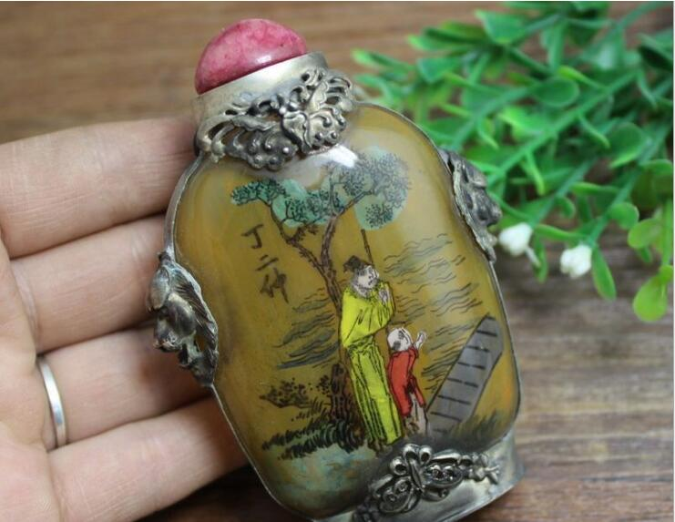 Antique Arts and crafts glass package silver painting snuff bottle to pieces of ancient people living room decoration