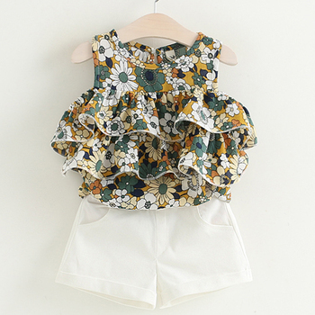 Newborn Baby Girl Fashion Sleeveless Whirte T-Shirt Short 2Pcs Suits