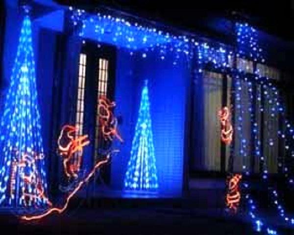 3m 3m blue led curtain light waterproof string light. Black Bedroom Furniture Sets. Home Design Ideas