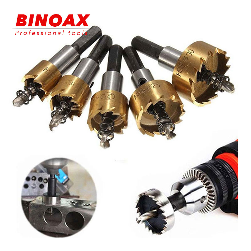 Binoax 5 Pcs HSS Carbide Tip Drill Bit Saw Set 16/18.5/20/25/30mm Metal Wood Drilling Hole Cut Tool For Installing Locks