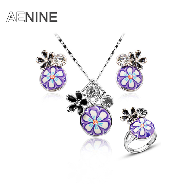 Trendy Jewelry Sets Rose Gold Plated Fimo Polymer Clay Purple Enamel Floral Necklace Earrings Ring Jewelry Sets 20702660158