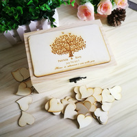 Custom Wooden Rectangle Keepsake Gust Book Personalized Wedding Guest Book Heart Rustic Tree Wedding Guestbook With