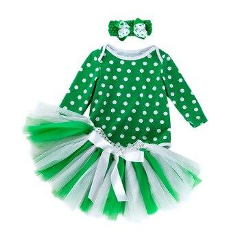 5fe222d02d0 Bebé niña 1 año vestido de Tutu de cumpleaños niñas 1st cumpleaños fiesta  bautizo traje disfraces princesa verde Día de San Patricio